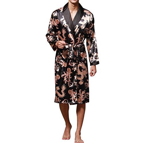 Haseil Men's Satin Robe Dragon Chinese Silk Spa Long Sleeve House Kimono Bathrobe, Black, Tagsize2XL=USsizeL