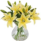 Meiwo Artificial Flowers, 5pcs Artificial Lillies with 3 Buds,...