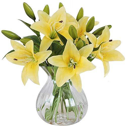 MEIWO Flores Artificiales, 5 Pcs Real Toque Látex Artificial Lillies Flores en Floreros Decoración de Boda/Decoración para el hogar/Parte/Graves Arreglo(Amarillo)