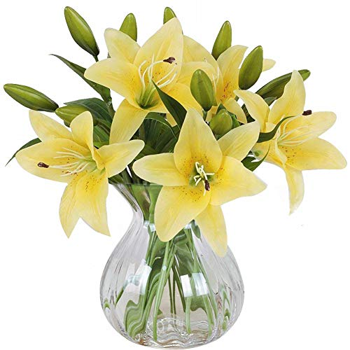 MEIWO Artificial flowers, 5pcs Artificial Lillies with 3 Buds, Full Bloom Artificial Latex Real Touch Flowers for Home Decor, Wedding, Parties, Offices, Restaurants(Yellow)