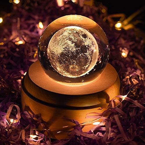 「最新版」雑貨 かわいい プレゼント誕生日 クリスマス オルゴール おしゃれ LEDライト 月のランプ USB充電式 投影 クリスタル ボール インテリア 雑貨 かわいい 癒しグッズ 記念日 取扱説明書つき (君をのせて)