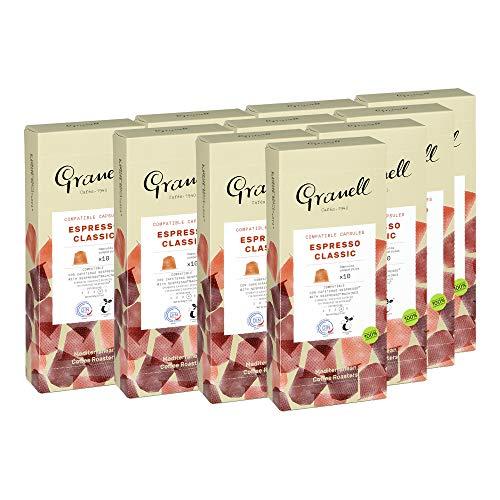 Granell Cafes-1940 Granell - Daily Blends Pack Classic Espresso | Kompatible Espressokapseln für Nespresso Maschinen - 100% Robusta - 100 Kompostierbare Kaffeekapseln - 980 g