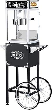 ROVSUN Popcorn Machine w/ Cart & Wheels, 8 Ounce Kettle Popcorn Maker w/ Single Door, Popcorn Scoop, Oil Spoon & 3 Po