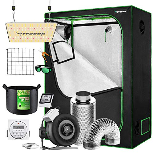 VIVOSUN Grow Tent Kit Complete, 48'x24'x60' Grow Tent Complete System with VS1000 Led Grow Light, 4 Inch 203 CFM Inline Fan, Carbon Filter and 8ft Ducting Combo