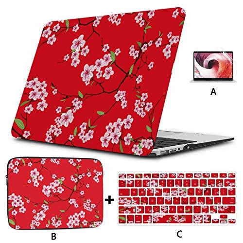 Funda para computadora portátil Chinese Sakura Kimono Red Seamless Vector 13 Pulgadas Macbook Air Estuche Hard Shell Mac Air 11'/ 13' Pro 13'/ 15' / 16'con Funda para portátil p