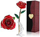 LOVLO Gold Dipped Rose 24k Red Gold Plated Rose - Everlasting Long Stem Real Rose Exquisite Holder,...
