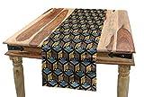 ABAKUHAUS Japonés Camino de Mesa, Pájaros Asiáticos Clásicos, Decorativo para el Comedor o Sala de Estar Fácil de Limpiar, 40 x 225 cm, Azul Gris Arena Cacao Marrón