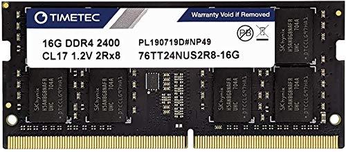 Timetec Hynix IC 16GB DDR4 2400MHz PC4-19200 Non ECC Unbuffered 1.2V CL17 2Rx8 Dual Rank 260 Pin SODIMM Laptop Notebook Computer Memory Ram Module Upgrade
