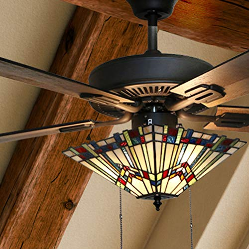 River of Goods 52 Inch Craftsman Stained Glass LED Ceiling Fan, Multicolor