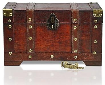 Brynnberg - Caja de Madera Cofre del Tesoro con candado Pirata de Estilo Vintage, Hecha a Mano, Diseño Retro 28x17x16cm