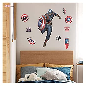 Marvel Captain America Avengers Wall Decals - Captain America Wall Decor with 3D Augmented Reality Interaction - 27  Tall x 17  Wide Superhero Wall Decal Marvel Room Decor