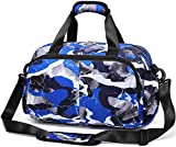 MUUQUSK Small Gym Duffel Bag for Little Boys Kids Weekend Bag Overnight Travel Carrying Duffle for Camping Soccer Basketball Football Sports Crossbody Bag with Shoulder Strap Zipper Pocket (Blue Camo)