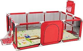 Parque bebés YXX Corralito Parque Infantil Grande para bebés pequeños para Camas gemelas, Patio de Juegos de Seguridad con colchoneta y aro de Baloncesto, Extra Alto 66 cm, Rojo/Azul (3 Pack)