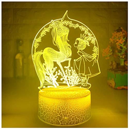 Luz nocturna para niños Lámpara 3D Ilusión Luz Nocturna LED con Cable USB y 7 funciones de cambio de color regalo de Navidad jóvenes, adultos, niñas Chica pony de jardín-Touch+Remote
