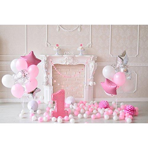 BESTOYARD Fotografie Hintergrund Baby 1.Geburtstag 3D Cartoon Ballons Wimpel Torten Wand Foto Studio Requisiten für Mädechen Kindergeburtstag (Rosa)