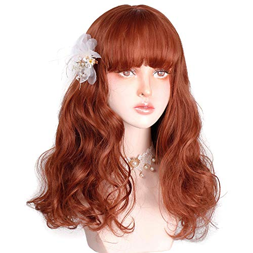 Ginger Wig Long Wavy Red Orange Wig with Bangs For Women Natural Curly Synthetic Orange Hair Lolita Wig with Wig Cap