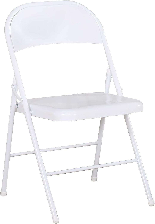 YOON Elegante Silla Plegable De Hierro Forjado con Respaldo, Balcón/Silla De Jardín, Cuatro Colores, Proceso De Pintura A Alta Temperatura (Color : White)