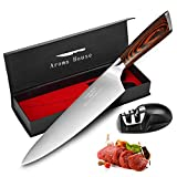 Chef Knife Professional 8-Inch Kitchen Knife German X50CrMoV15 Stainless Steel Meat Vegetables Knife with Ergonomic Handle and Knife Sharpener