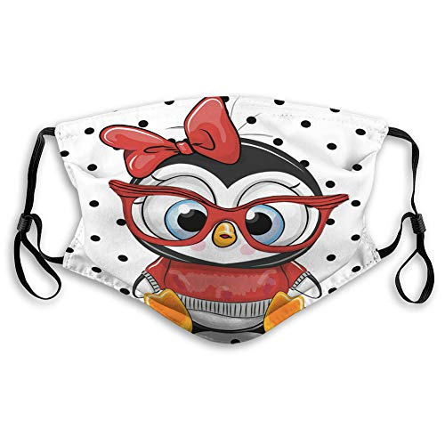 New Xunulyn Mouth Shield Face Cover Reusable Outdoor Covers Cute Cartoon Penguin with red Glasses El...