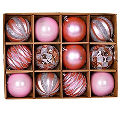 "Jilimeli 12ct 80mm/3.15"" Christmas Ball Ornaments, Decorative Hanging Baubles, Christmas Tree Decoration, Plastic and Shatterproof, Ideal for Xmas, Holiday, Home and Party Decor, Pink"