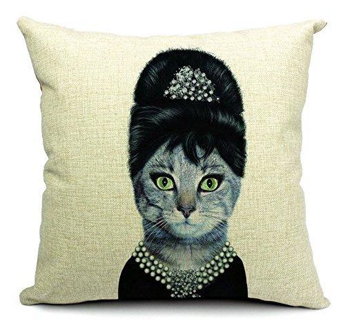 Funda de cojín para decoración del hogar, funda de almohada cuadrada, disfraz de gato, fiesta Audrey Hepburn de 18 x 18 pulgadas