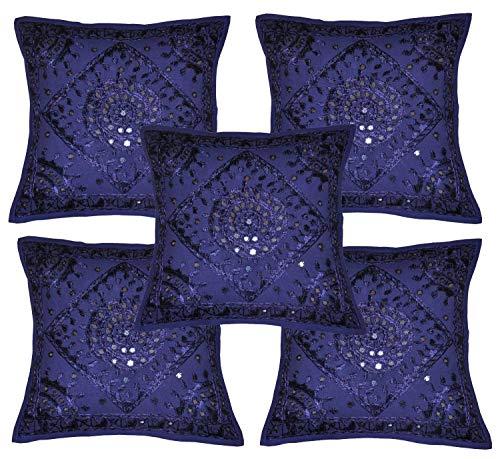 HomeDecorBoutique Home Furnishing Fundas de cojín Decorativas Hechas a Mano Bordadas y espejadas, de algodón Indio, 16 x 16 Pulgadas, Juego de 5 Unidades
