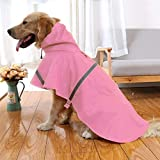 NACOCO Large Dog Raincoat Adjustable Pet Water Proof Clothes Lightweight Rain Jacket Poncho Hoodies with Strip Reflective (L, Pink)…