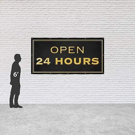 Open 24 Hours 8x4 CGSignLab Classic Gold Heavy-Duty Outdoor Vinyl Banner