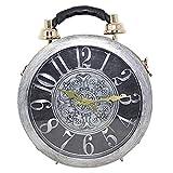 Real Time Clock di lavoro shoulderbags signore elegante e funzionale Tote classica rotonda etro Vintage borsa a tracolla Pochette Steampunk stile della borsa (Gray)