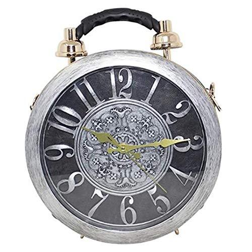 Real Working Clock Shoulderbags Damen Funktions Stilvolle Tote Klassische runde etro Vintage-Handtaschen-Schulter-Handtasche Steampunk Art-Handtasche (Gray)