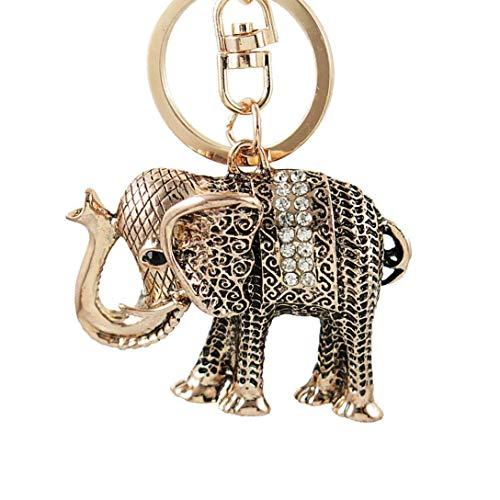 YASIKU Schlüsselanhänger mit Ring, Glücksbringer, Maskottchen, Vintage-Stil, Elefant, glitzernd, für Tasche, Geldbörse, Autoschlüssel, Geschenk für Frauen