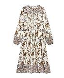 R.Vivimos Women's Casual Bohemian Print Neck Tie Long Sleeve Beach Style Long Midi Dress Vocation Dress (XL, Multicolor/White)