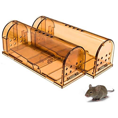BASOYO Trampa para Ratones Humana, Trampa para Ratones y roedores Inteligente agrandada, no Mata a los Ratones, Apta para Mascotas y niños, como una casa de ratón Real (2, marrón)