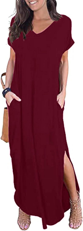 MEDRESPIRIA Womens Dresses,Women's Bohemian Floral Printed Wrap V Neck Short Sleeve Split Beach Party Maxi Dress