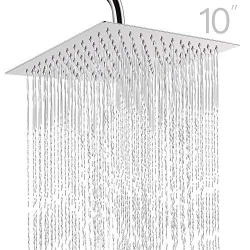 Topmail 10 Zoll Duschkopf Regendusche Quadratisch Kopfbrause Einbauduschköpfe aus 304 Edelstahl hochdruck Top Spray Brausekopf (Quadratisch)
