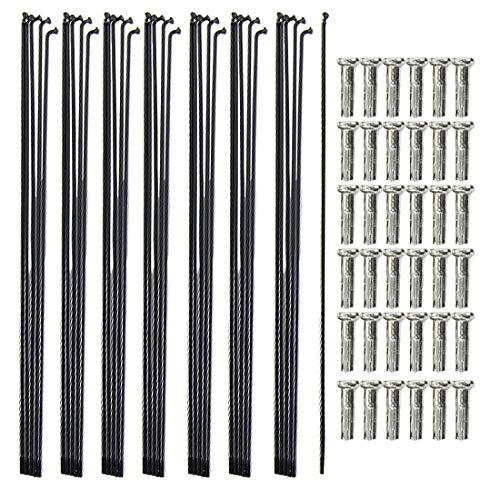 Weichuang 36 Speichen mit Nippel Stahl Fahrradspeichen für Rennrad Mountainbike, langlebig Stark, Fahrradteile Schwarz 255mm