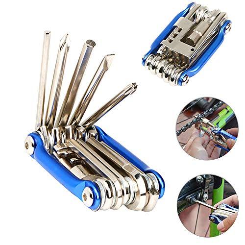 FULARR 11 en 1 Herramienta de Reparación de Bicicleta Multifunción, Mini Kit de Herramientas Plegables, Herramienta de Reparación de Bicicletas Portátil Compacta, Kit de Herramientas de Mantenimiento