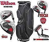 Wilson Prostaff Paquete de Golf SGI de 13 Piezas para Hombre con Juego Completo de Club, Equipado con hierros de Acero y Grafito, Madera para Hombre, Mano Derecha y Bolsa de Carrito Prostaff
