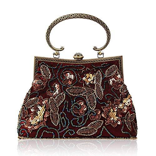 YXFYXF Lentejuelas con Cuentas Vintage para Mujer Bolso con Cuentas Hecho a Mano Lady Bols Bag Button (Color: Azul, Tamaño: 23 cm x 24 cm) (Color : Red Wine, Size : 23cm x 24cm)
