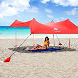 Red Suricata Family Beach Sunshade - Sun Shade Canopy | UPF50 UV Protection | Tent with 4 Aluminum...