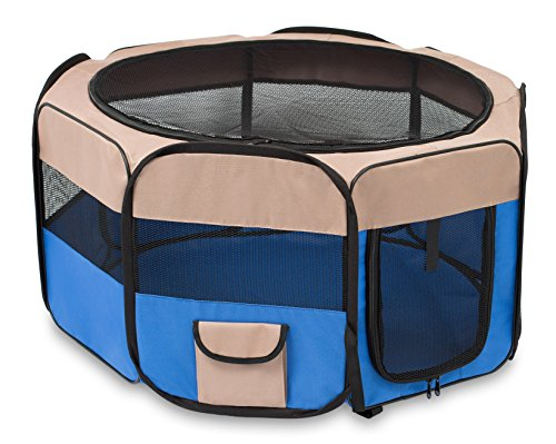 BIRDROCK HOME Internet's Best Soft Sided Pet Playpen - Small - Portable Puppy Pet Enclosure - Dog or Cat - Indoor Outdoor Mesh Kennel - Easy Travel - Folding and Collapsible Cage - Blue and Tan