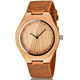 CUCOL Men's Bamboo Wooden Watch with...