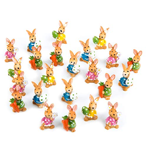 Logbuch-Verlag - 22 Mini coniglietti pasquali colorati, da appoggiare, 3 cm, idea regalo per Pasqua, per ospiti, colleghi, clienti, bambini