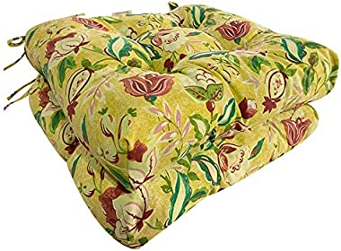 Four Seasons BeiJiaEr Series (Set of 2) All Weather Chair Pads Wicker Seat Cushions Home Garden Patio with Full-Length Ties f