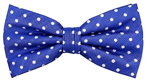 Designer Nœud papillon soie bleu de signal argent blanc à pois - Nœud papillon soie silk