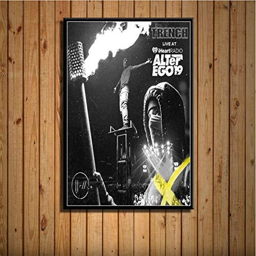 Fymmshop Eenentwintig piloten trenchcoats en regenjassen warm muziekalbum Cover Sänger Star Art schilderijen zijden canvas wandposter wooncultuur 40x50 cm