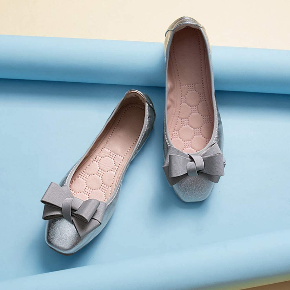 Ladies Casual Square Head Bow Office Business Soft Sole Loafers Daytwork Women Ballet Pumps Flats Shoes