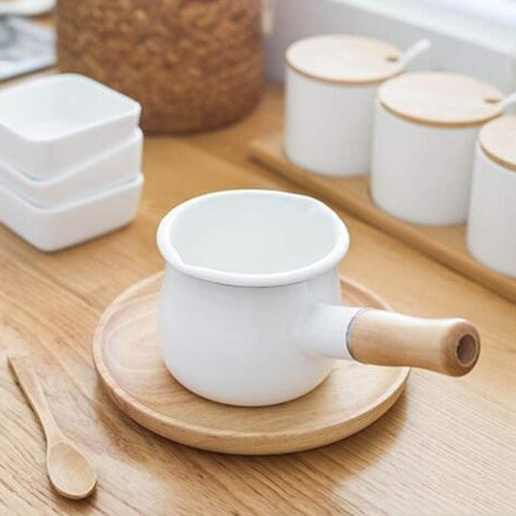 ZJDK Casserole à Lait en émail, Mini-réchaud à Beurre 10cm Casserole Casserole avec poignée en Bois, Chauffe-café, fondoir à Chocolat - Blanc, 10cm White
