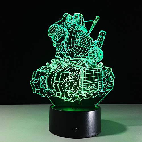 wangZJ 3d Illusion Lamp/tank Illustration Lampada da tavolo / 7 colori lampada da tavolo/lampada 3d / luce notturna a led/luce a led/regalo di halloween/tocco remoto