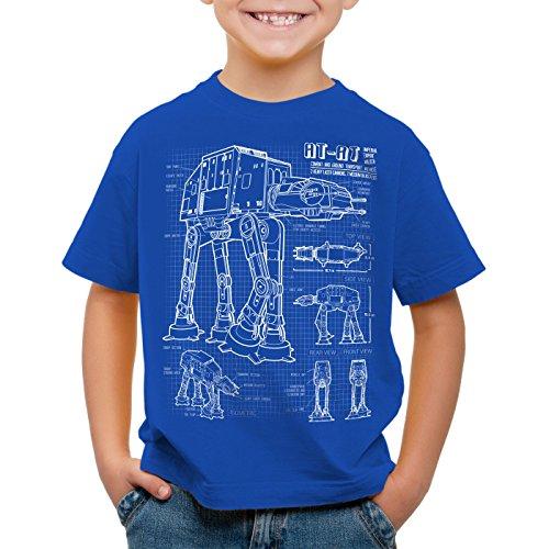 style3 at-at Kinder T-Shirt Blaupause Walker, Farbe:Blau;Größe:140
